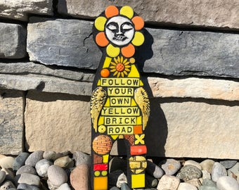 Follow Your Own Yellow Brick Road. (Mixed Media Mosaic Trash Doll Assemblage Art Wall Hanging by Shawn DuBois)