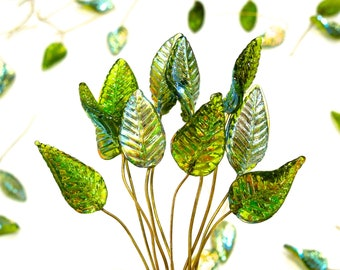 SUPPLY: 12 Iridescent Lime Green Leaf Headpin - Glass Drops with Brass Wire - Handcrafted - Wedding - SKU 8-C1-00008481-OS-94