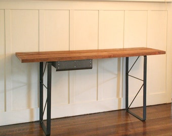 high table - industrial modern console from reclaimed old growth wood and recycled content steel - buffet table - with no drawer