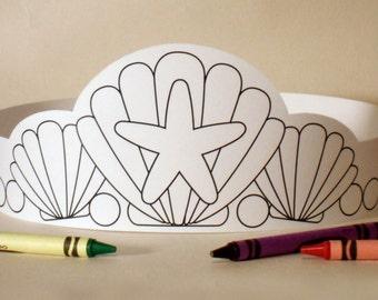 Mermaid Paper Crown COLOR YOUR OWN - Printable