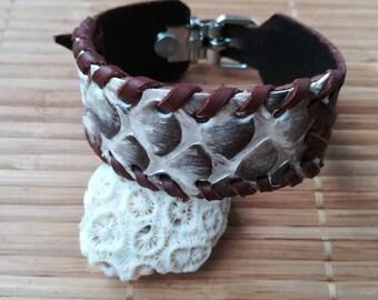 Leather bracelet and Piton skin. Python Bracelet. Exotic bracelet. Hand-sewn bracelet.