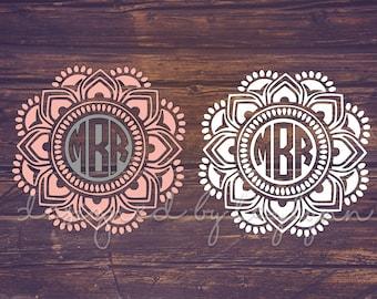 Reverse Mandala Decal, Mandala Decal, Mandalas, Yeti decal, Decals, Monogrammed mandala, Monograms, Car decal, birthday gifts, Vinyl Decals