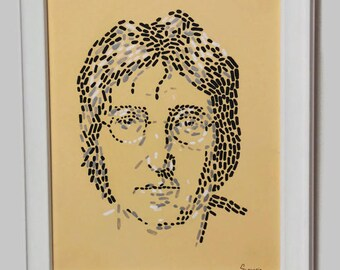 John Lennon painting Beatles painting Rock star Rock music painting Rock star art  Straightedgism style Give peace a chance Peace painting