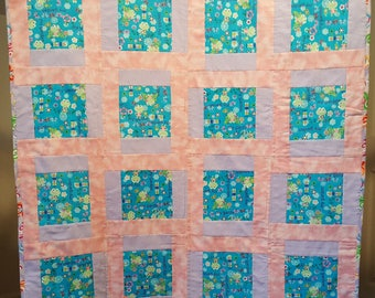 Pink Purple Teal Flannel Quilt 39 inch x 39 inch