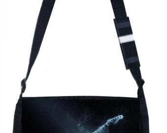 Smoking Electric Guitar Black School Shoulder Messenger Bag