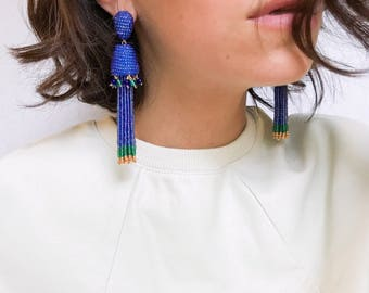 Tassel beaded earrings, blue, green and gold.this is a statement piece inpired by jellyfish. Trendy maxi long earrings,handmade jewelry.