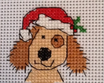 COMPLETED CROSS STITCH - Xmas Dog -Ideal for Card Makers