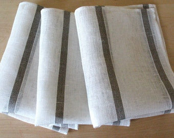 """Linen Napkin Natural White Gray set of 8 - Flax 17.7"""" x17.7"""" size"""