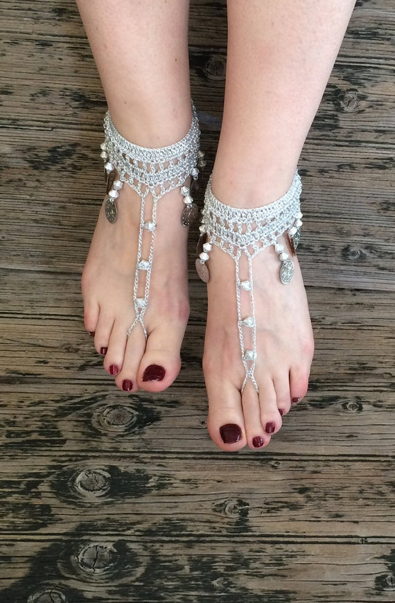 2461f2f6470492 ... Anklet Dancer Beach Wedding Barefoot Belly Silver Boho Bridal Gift  Gypsy Jewelry Sandals Sandal Shoes Bohemian ...