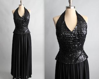 70's Sequin Halter Dress // Vintage 1970's Black Sequined Halter Goddess Evening Gown Maxi Disco Dress