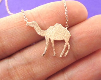 Camel Silhouette Shaped Pendant Necklace in Rose Gold  | Minimalistic Handmade Animal Jewelry