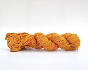 Golden Yellow Sari Silk Ribbon Yarn, 100 grams (3.5oz), 6 Weight (Super Heavy)