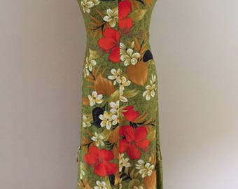 1960's-70s Vintage Apple Green Floral Maxi Dress/Made in Hawaii