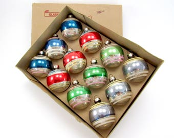 Vintage Glass Christmas Ornaments 1950s Striped Glass Christmas Decorations Retro Christmas Baubles Boxed Set