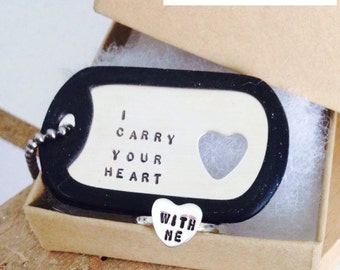 I Carry Your Heart dog tag  and sterling silver HEART ring (INTERTWINE)