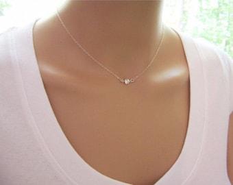 Tiny Diamond Necklace - CZ Necklace - Sterling Silver  Tiny Necklace - Dainty Simple Jewelry Choker Necklace - Diamond Alternative