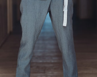 Linen Pants Motumo With The Fold On The Front - 14K3