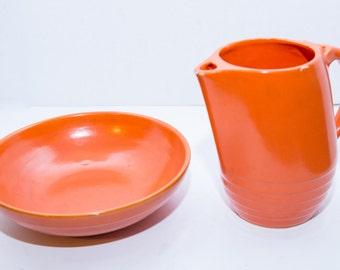 Streamlined Moderne Orange Pitcher And Bowl Set