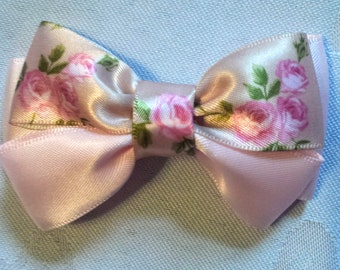 Light Pink and Floral Satin Hairbow