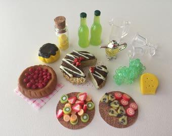 Dollhouse miniature cake set