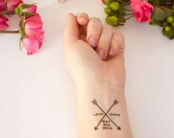 Arrow Wedding Tattoos, Arrow, Wedding Logo Tattoo, Wedding Monogram, Wedding Tattoo, Temporary Tattoo, Wedding Favor, Custom Tattoo