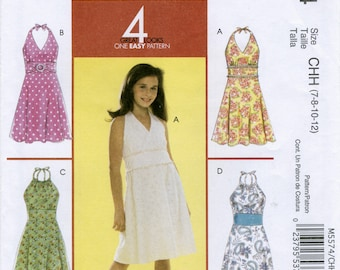 Girl's Halter Dress Sewing Pattern Size 7 8 10 12 McCall's M5574 UNCUT, Faced Bodice, A-Line Skirt, Midriff Band, Spring, Summer, Beach