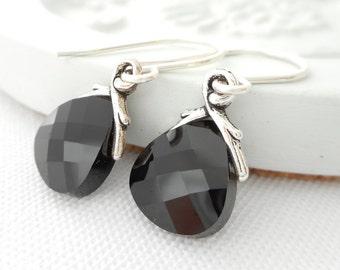 Small Black Crystal Earrings, Jet Black Swarovski Crystal Flat Briolette Dangle Earrings, Bridal Earrings, Bridesmaid Wedding Jewelry