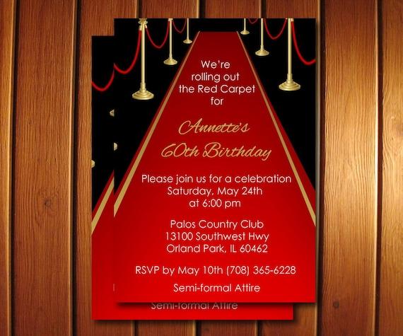 Red carpet invitation adult red carpet birthday invite like this item stopboris Choice Image