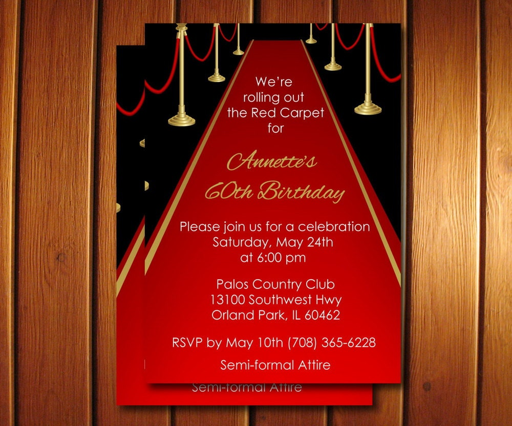 Red Carpet Invitation Adult Red Carpet Birthday Invite