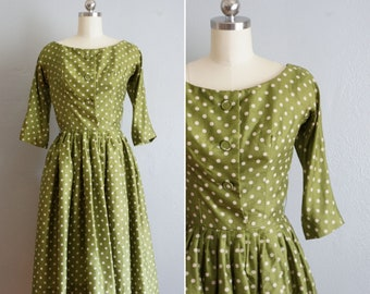 1950s Gigi Young silk polka-dot dress | vintage 50s fit and flare dress | 50s silk day dress