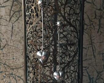 Sterling Silver Dangle Puffed Heart Earrings - VINTAGE