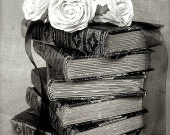 "Black and White French Country Art, Book Art, Old Book Photograph, Office Library Still Life, Vintage Shabby Book Decor- ""Shakespeare Stack"""