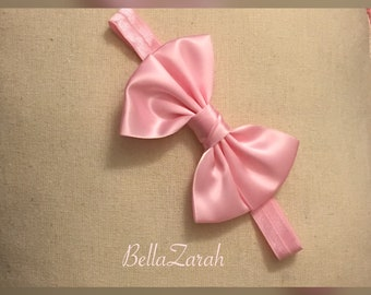 Pink headband with classic pink bow