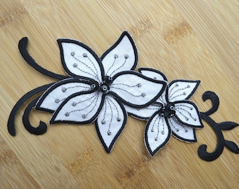 """Cute Large Black and White Floral Beaded Sequin Applique Irridescent Petals Embelishment Detail 7"""" x 3 1/4"""" Dress Hat Costume Making"""