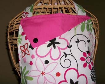 Pink and Red Flowers - Women's Apron - Ruffle - Pocket