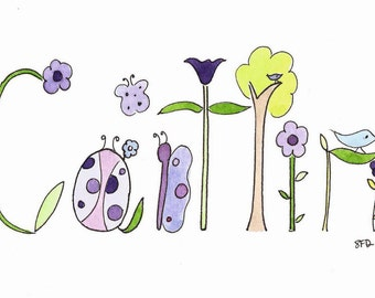 Original Watercolor Name Art, Personalized Baby Gift, Nursery Wall Decor, Custom Name Painting, Caitlin, Woodlands, Flowers, Owl, Tree, Bird