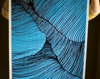 Strands 2, Blue, screen print 19x25