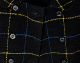 Wool Black & Plaid Peacoat Jacket by Jones New York- Size 8