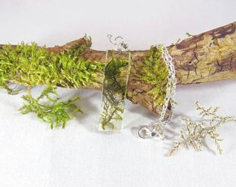 Moss resin necklace, real moss pendant, nature jewelry, terrarium necklace, moss rectangle pendant
