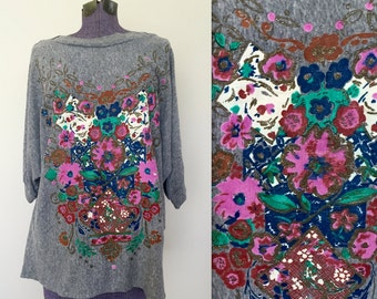 Vintage 1990s SOFT Oversized Drapey Floral Tee