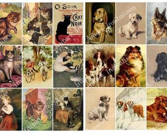 Printable Digital Vintage Cats & Dogs Collage Sheets Clip Art Bundle Images ATC, JPEG, Instant Download, Downloadable  Cu Commercial Use