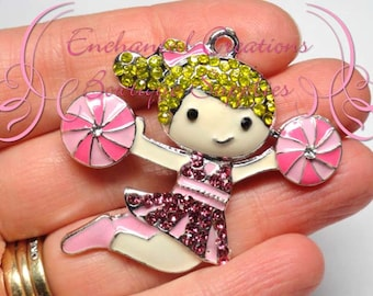 "2"" Blonde Cheerleader With Pink Rhinestone Dress Charm, Chunky Pendant, Keychain, Bookmark, Zipper Pull, Chunky Jewelry, Purse Charm"