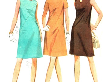 1960s Dress Pattern McCall's Vintage Sewing A Line Back Zip Collarless Women's Misses Size 14 Bust 36 Inches