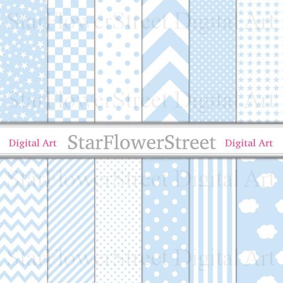 Digitales Papier Baby Boy blau druckbare Wolke Blöcke Muster