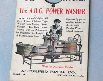 1908 ADVERTISING for the A.B.C. POWER WASHER - a Scissor Sharpener Card - Altorfer Bros. Company - Patent Dated on Oct. 20, 1908 - #1