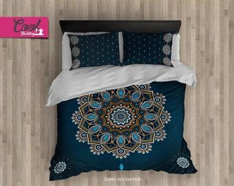 Queen Duvet Cover Set, Comforter Blue Mandala ON SALE