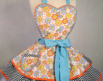Primary Florals Pinup Apron, Woman's Apron, Chevrons and Polka Dots