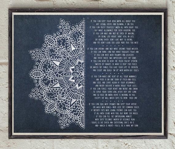 Rudyard Kipling If Poem Mandala Art Poetry Poster