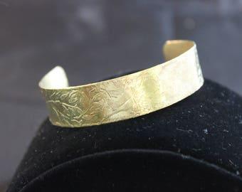 Etched Brass Cuff Bracelet (05212017-031)