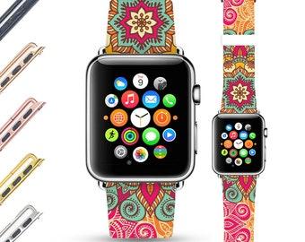 Mandala apple watch band 38mm women, genuine leather watch band, apple watch band 42mm, colorful apple watch strap, iwatch band
